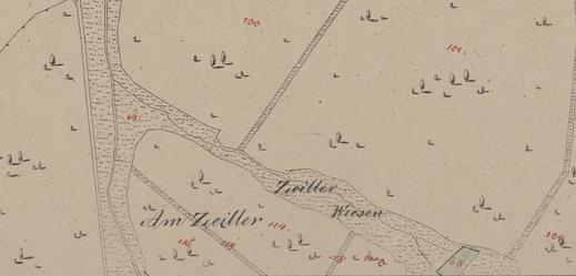 Schon im Franziszeischen Kataster von 1822 ist auf der Zeilerwiese der See eingezeichnet (Quelle: NÖLA)