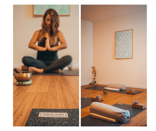 hejhej-mats yoga mats in the cosy yoga studio of Bianca in Munich.