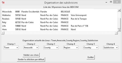 Fenêtre de correspondance des Lieux lors de l'import GEDCOM