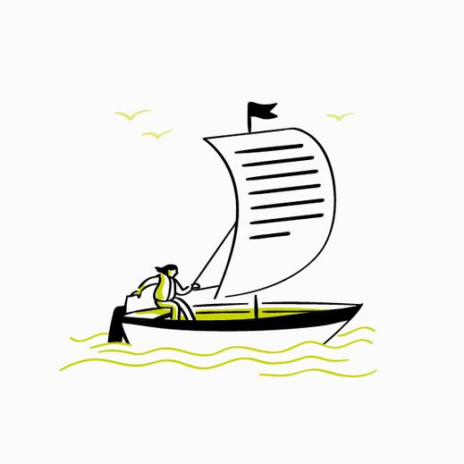 Linienillustration eines Bootes