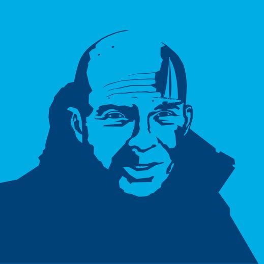 Profilbild Grafik Portrait flächig nachgezeichnet dunkelblau auf blau