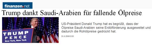 (Trump ringrazia l'Arabia Saudita per la diminuzione del prezzo del petrolio)