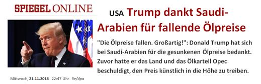 (USA: Trump ringrazia L'Arabia Saudita per la diminuzione del prezzo del petrolio)