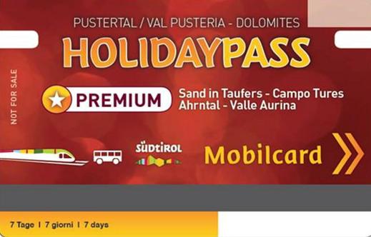 Der Holiday Pass Premium: Ihr Urlaubspass für die kostenlose Benutzung der öffentlichen Verkehrsmittel in Südtirol - erhältlich bei Appartements Großgasteiger in der Alpinwellt Weißenbach im Ahrntal