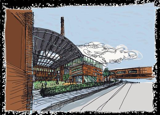 Geplanter Kindergarten im Lindgens Areal. Illustration nach einer Visualisierung von trint+kreuder d.n.a. architekten.