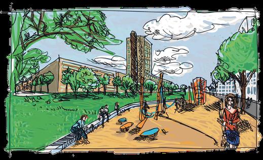 """Ein großflächiger Grünzug """"Mülheimer Süden"""" zur Anbindung des Mülheimer Stadtparks an den Rhein ist in der Planung vorgeschrieben. Der Turm der Deutz AG sollte als Wahrzeichen stehen bleiben. Er ist abgerissen."""