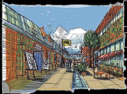 Otto-Langen- Quartier. Die ehemalige Werksstraße der Deutz AG eignet sich hervorragend als Künstlerstraße mit Ateliers, Gastro und Kleingewerbe. Die Macher*innen von raum13 und Freunde setzen auf ein Reallabor für Urbanität im 21. Jahrhundert.