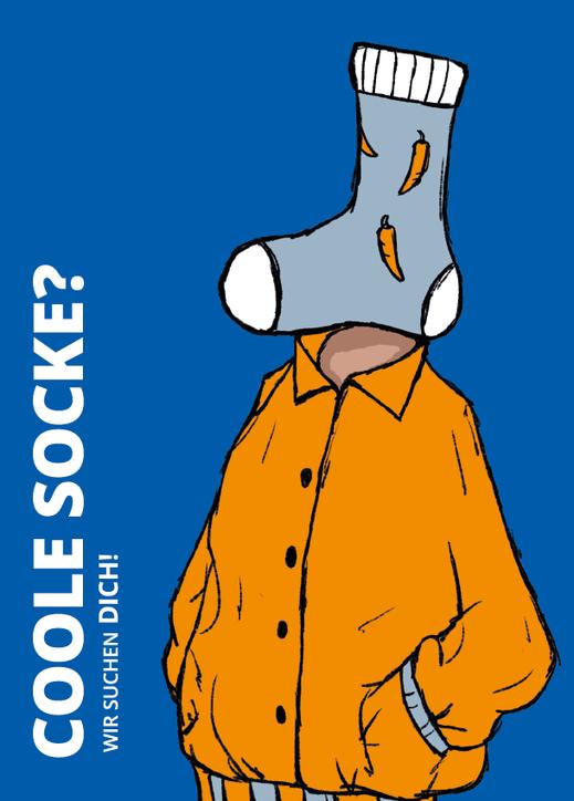 "Postkarte ""Coole Socke"". Illustration Lisa Tasch"