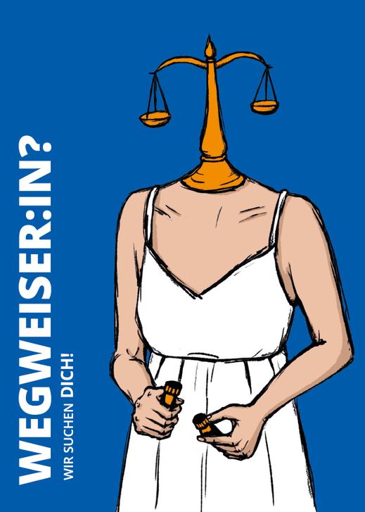 """Postkarte """"Wegweiser:in"""". Illustration Lisa Tasch"""