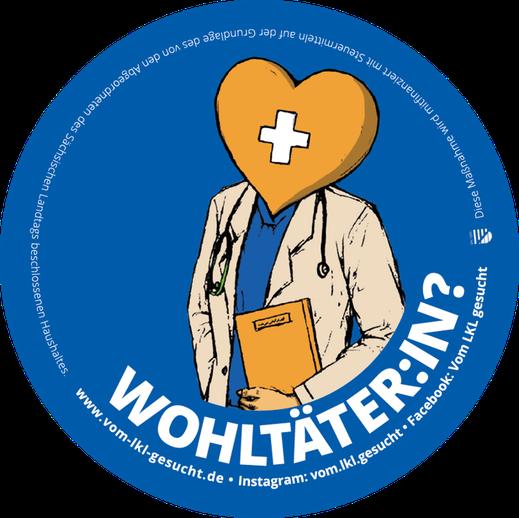 """Sticker """"Wohltäter:in"""". Illustrtaion Lisa Tasch"""