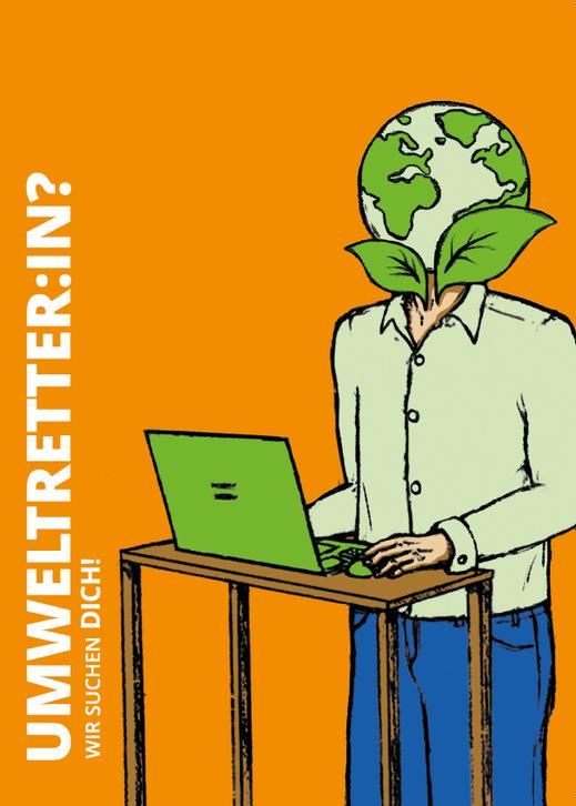 "Postkarte ""Umweltverbesser:in"". Illustration Lisa Tasch"