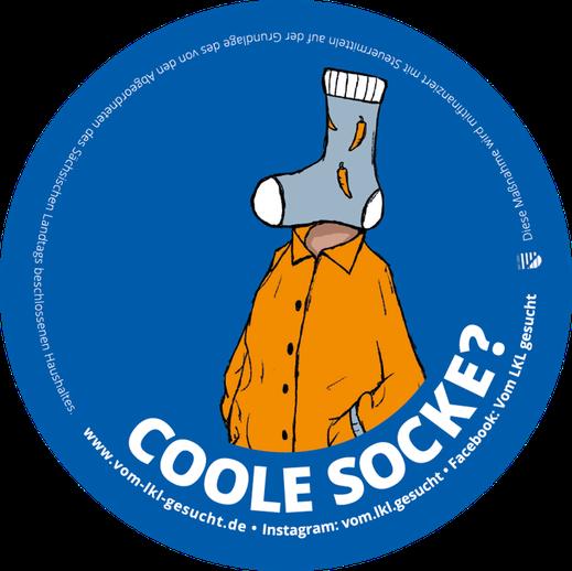 "Sticker ""Coole Socke"". Illustration Lisa Tasch"