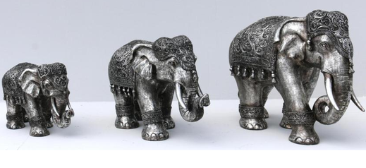 Deko-Elefanten, antik, silber