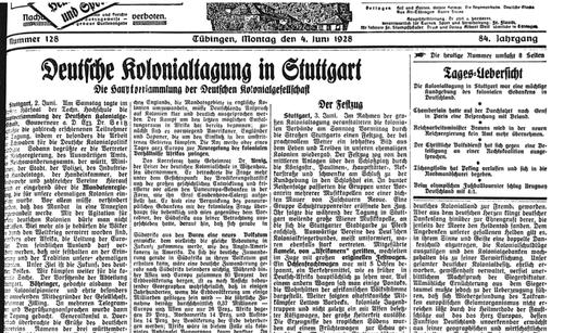 Bild: Tübinger Chronik, 04.06.1928, Nr. 128, Stadtarchiv Tübingen.