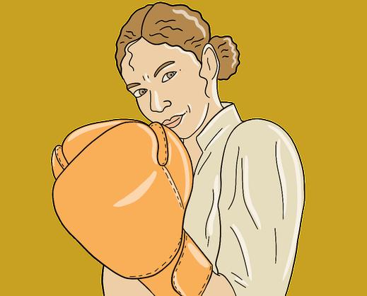 Schlagfertigkeit: Frau mit Boxhandschuh