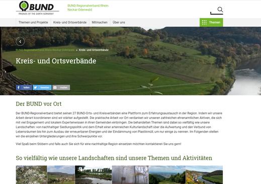Screenshot von der Homepage des BUND Regionalverbands Rhein-Neckar-Odenwald