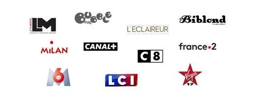 Clients / Partenaires : Let's Motiv, Bubble Mag, L'éclaireur, Biblond, Milan Presse, Canal+, C8, France 2, M6, LCI, Virgin 17