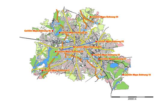 Startansicht einer Karte (Berlin) in GeODin Maps