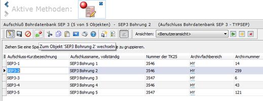 """Screenshot zur GeODin-Funktion """"Zum Objekt Wechseln"""""""