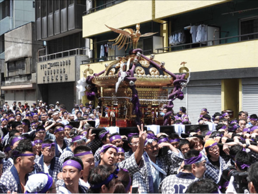 小野照崎神社大祭, 2年に一度,十七ヶ町会,連合神輿渡御