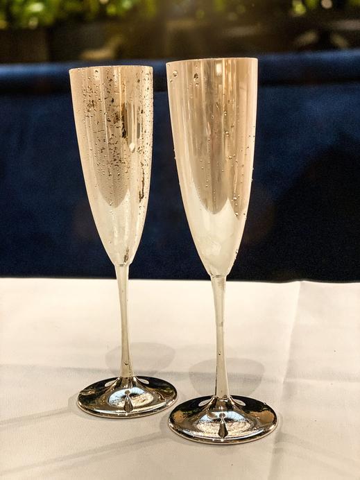"Koenig® Chalet Style ""Silver Champagner-Flûtes"" - 100% swiss handmade"