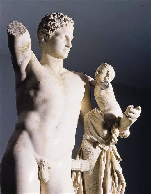 Hermes; Dionisos; escultura; mitología; Praxíteles; cursos; religión griega; Academia Humanista Idearte;