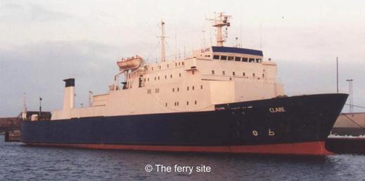 M/V Clare en 2001, navire affrété en 1993 et en 2000 par respectivement Commodore Shipping et Condor Ferries pour la ligne reliant les îles Anglo-Normandes à Portsmouth.