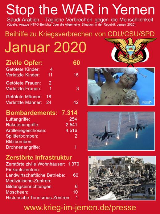 Jemen: Kriegsverbrechen im Januar 2020 der saudischen Kriesgkoalition mit Beihilfe Deutschlands, der USA, Frankreich, Großbritannien  und weiterer NATO-Staaten.