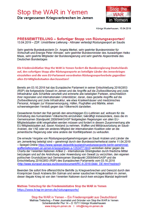 15.04.2019 - Pressemitteilung - Sofortiger Stop aller Rüstungsexporte