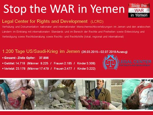 LCRD-Dokumentation von Kriegsverbrechen und Verbrechen gegen die Menschlichkeit nach 1.200 Tagen völkerrechtswidriger Invasion saudischer Kriegskoalition allein in den Gebieten der Houthi-Kämpfer im Nord-Jemen