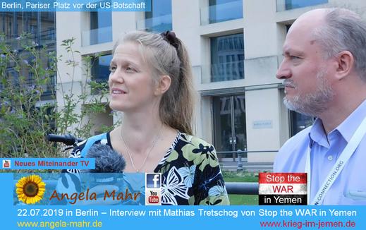 Interview von Angela Mahr von Neues Miteinander TV mit Mathias Tretschog von Stop the WAR in Yemen
