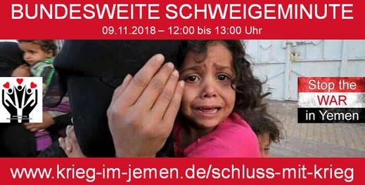 """Bundesweite Schweigeminute """"Schluss mit Krieg im Jemen"""" - 09.11.2018 zwischen 12:00 und 13:00 Uhr"""
