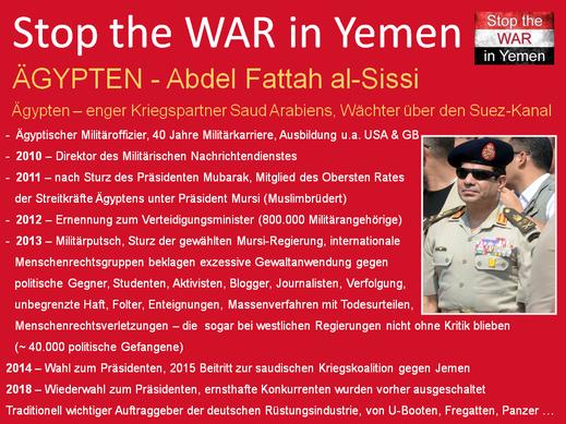 Präsident Abd al-Fattah as-Sisis, der an mehreren Militärputschs beteiligt war und Ägypten eine lupenreine Militärdiktatur zu verdanken hat.