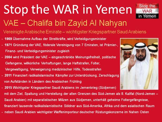 Chalifa bin Zayid Al Nahyan - Präsident der Vereinigten Arabischen Emirate, wichtigster Kriegspartner Saudi Arabiens, Ziel im Jemen 8. Kalifat