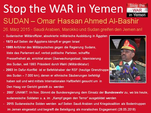 Die EU, Deutschland und der SUDAN unter Führung von Omar Hassan Ahmed Al-Bashir an der Seite von Saudi Arabien gegen den Jemen