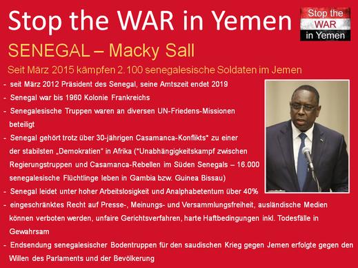 Seit Mai 2015 kämpfen 2.100 senegalesiche Bodentruppen für Saudi Arabien auf dem Territorium Jemens gegen die Houthi-Rebellen.