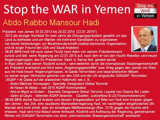 Nach einer Präsidentschaftswahl, bei der Abd Rabbuh Mansur Hadi einziger Kandidat war, legt Hadi den Amtseid am 25.02.2012 für nieder, seine Übergangsregierung war von vorn herein auf zwei Jahre bis Februar 2014 beschränkt.