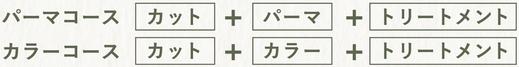 パーマコース:カット+パーマ+トリートメント。カラーコース:カット+カラー+トリートメント。