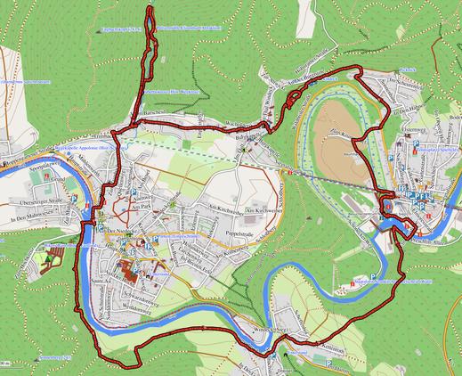 GPX-Track 14 km Wasserfälle, Burgen, Lost-Places,  ein Skelett und der Natursteig Sieg