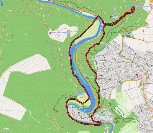 GPX-Track 8 km Wanderung zum Laubach Wasserfall
