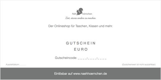 """Geschenkgutschein - Motiv """"Nähhörnchen"""", 10 € - 75 €"""