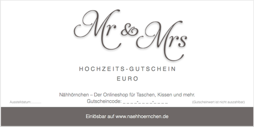 """Geschenkgutschein / Hochzeitsgutschein - Motiv """"Mr & Mrs"""", 10 € - 75 €"""