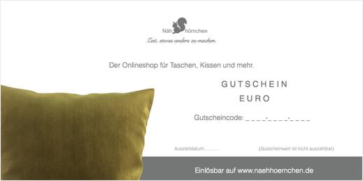 """Geschenkgutschein - Motiv """"Kissen"""", 10 € - 75 €"""