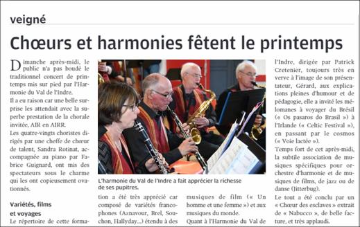 Concert du 24 mars 2019 avec l'harmonie de Veigné