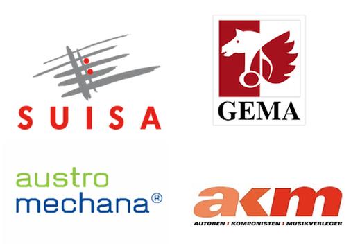 Schnittstellen zu verschiedenen Gesellschaften in der DACH-Region: GEMA, SUISA, AUME und AKM.