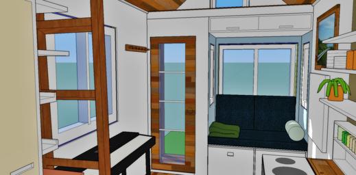 Blick ins Wohn- und Esszimmer (genaues Modell). Hinter den hier dargestellten Wänden, Decken und Böden ist jeder Pfosten und Balken geplant