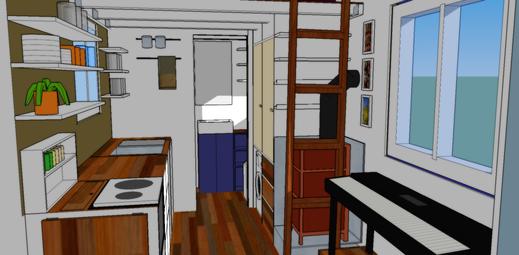 ... und hier der Blick in die andere Richtung: Küche, Badezimmer, Schrank, Waschmaschine, Ofen... und die ausziehbare Leiter zum oberen Stockwerk!