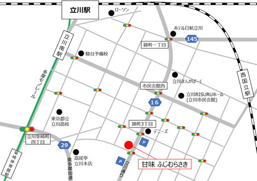 立川 柴崎体育館 甘味ふじむらさき 地図