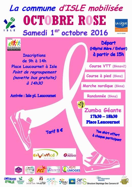 """affiche marche """"octobre rose"""" pour la lutte contre la cancer du sein"""