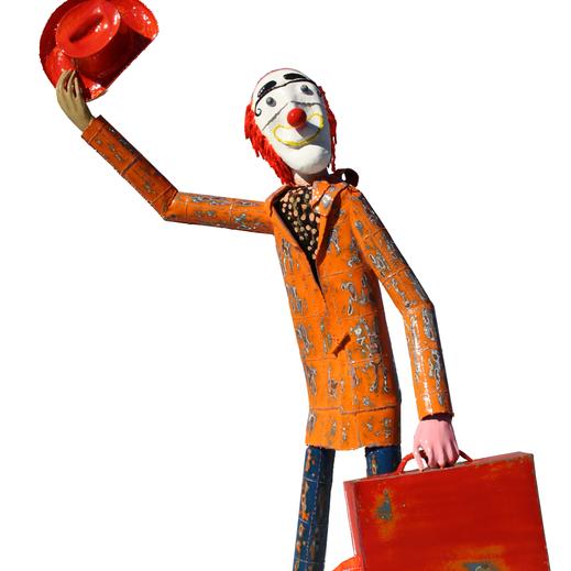 Légende : « Le clown » acier laqué, 1.60 m. Gerard Casse
